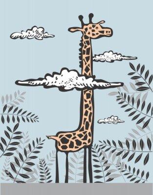 Картина Забавный жираф в облаках