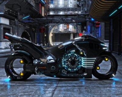 Картина На дисплее отображается футуристический световой цикл. Мотоцикл отображается с футуристическим урбанистическим фоном.