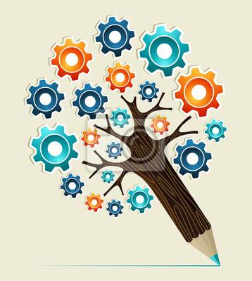 Шестерня концепция карандаш дерево