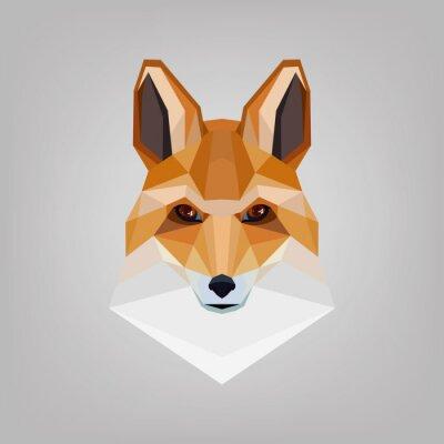 Картина Геометрическая многоугольной голова лисицы. Дизайн логотипа.