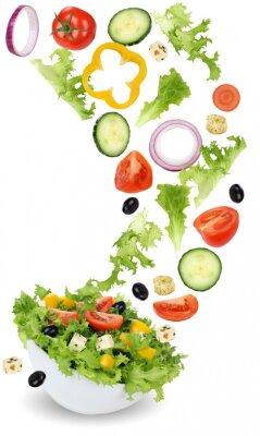 Картина Здоровый вегетарианский салат еда с помидорами, огурцами, луком и Па