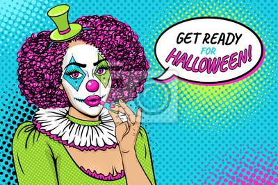 Приготовьтесь к Хэллоуину! Сексуальная молодая женщина с клоун макияж и костюм краски губы с помадой и речи пузырь. Векторные иллюстрации в стиле ретро комиксов. Поп-арт фон. Приглашение партии.