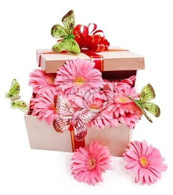 Подарочная коробка с цветами.