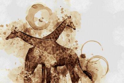Картина Жирафа. Digital Art Кофе пятно задыхаясь.