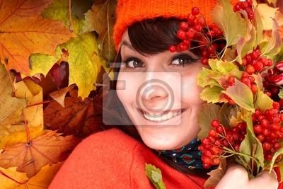 Девочка в осенью оранжевые шляпе лист group.Outdoor.