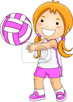 Девушка играть в волейбол