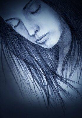 Картина девушка с закрытыми глазами