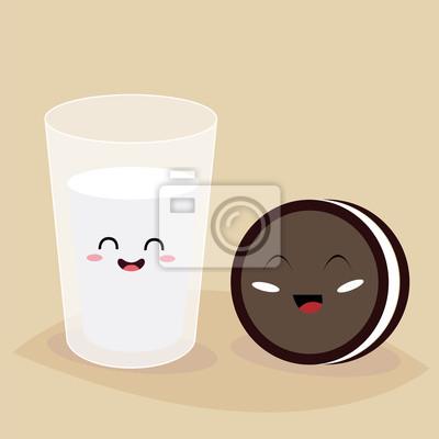 Стакан молока и печенья. Завтрак