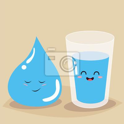 Стакан воды и падение воды с надписью пить больше воды. Векторная иллюстрация.