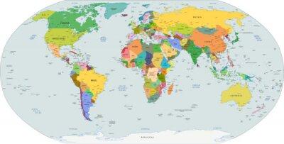 Картина Глобальный политическая карта мира, вектор