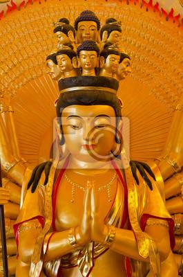 """Золотой Бодхисаттва """"Гуань Инь"""" с тысячу рук статуи"""
