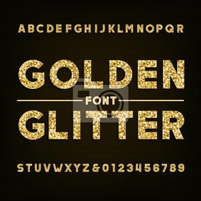 Золотой блеск алфавит шрифта. Жирным шрифтом выделены буквы и цифры. Векторный типографика для вашего дизайна.