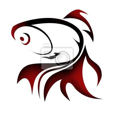 Золотая рыбка иллюстрации для логотипа и татуировки