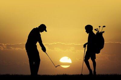 Картина Турнир по гольфу на закате
