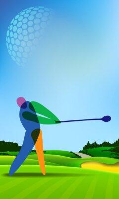 Картина Игрок в гольф на поле для гольфа