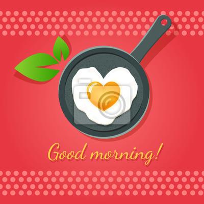 Доброе утро! Жареные яйца в форме сердца на сковороде. Вектор Икона.