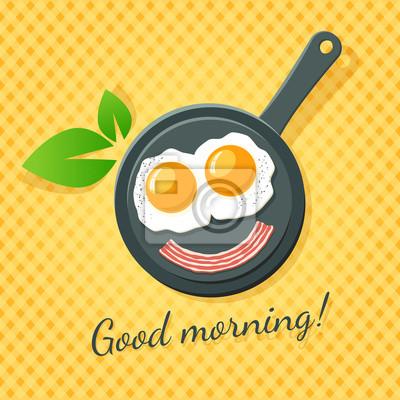 Доброе утро! Два яичница и бекон улыбка на сковороде.