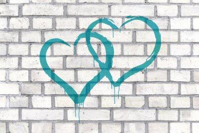 Картина Граффити на стене фон оказываемых сердец