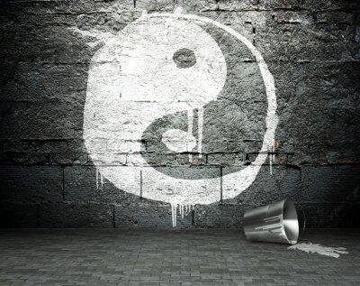Картина Граффити стена с инь янь, ул фоне