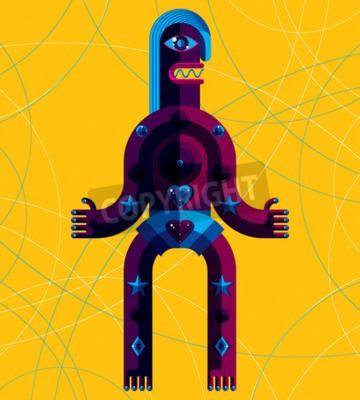 Картина Графический векторные иллюстрации, антропоморфный персонаж, изолированных на фоне искусства, декоративного современного аватара, сделанные в стиле кубизма.