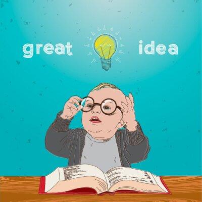 Картина Отличная идея, малыш с книгой и лампой над головой