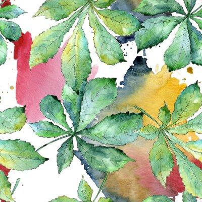 Картина Зеленые листья каштана в акварельном стиле. Бесшовный фон. Лист Aquarelle для фона, текстуры, обертки, рамки или границы.