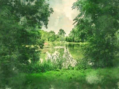 Картина Зеленый парк и озеро в Амстердаме. Акварель. Стиль масляной живописи.