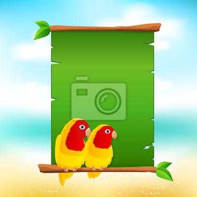 Зеленый шаблон летняя карта, плакат с попугаи неразлучники и быть