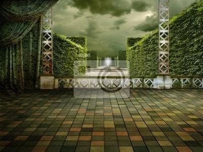 зеленый терраса