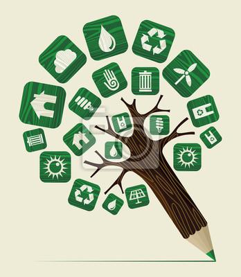 Зеленый мир концепции карандаш дерево