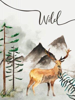 Картина Открытка с фоном леса и горы. Детская тема. Открытка с оленем. живая природа