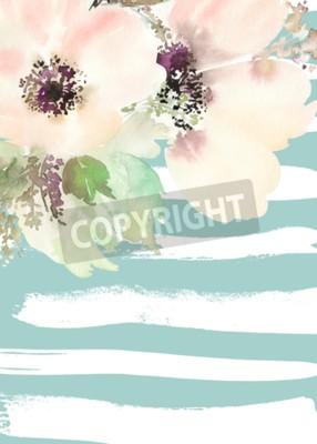 Картина Поздравительная открытка с цветами. Пастельные тона. Ручной работы. Акварельная живопись. Свадьба, день рождения, День матери. Свадебный душ.