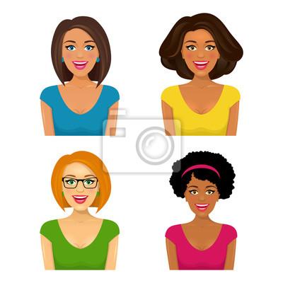 Группа из четырех привлекательных улыбающиеся женщины сталкивается с другой этнической принадлежностью и прическе. Векторные иллюстрации мультфильм на белом фоне.
