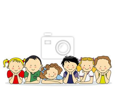 Группа счастливых детей. Место для текста или фото