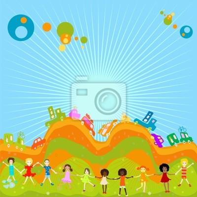 Группа детей, играющих