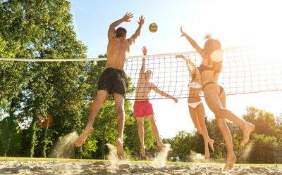 Картина Группа молодых друзей, играть в волейбол на пляже