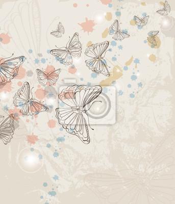 Гранж фон с бабочка