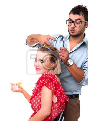 Волосы, студия выстрел парикмахер резки женщины
