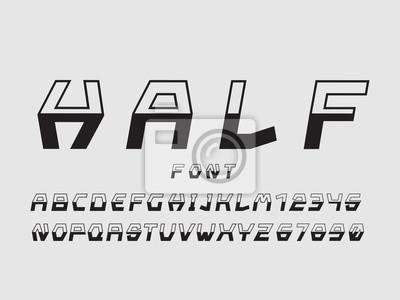 Half font. Vector alphabet