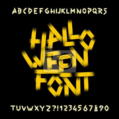 Хэллоуин шрифт алфавита. Грязные буквы, цифры и символы. Рисованная векторная типография для ваших заголовков или любой типографский дизайн.