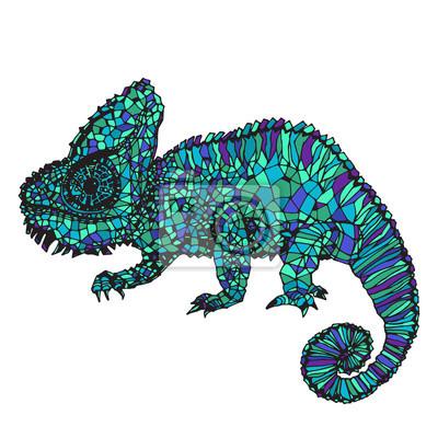 Картина Ручной обращается иллюстрации хамелеона.