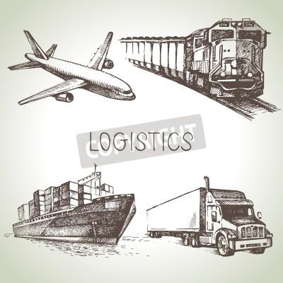 Картина Рисованной логистики и доставки эскиз набор иконок. Векторные иллюстрации