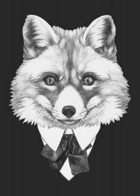 Картина Ручной обращается портрет Fox в очках. Вектор изолированных элементов.