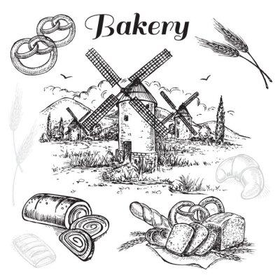 Картина ручной обращается множество хлебопекарное