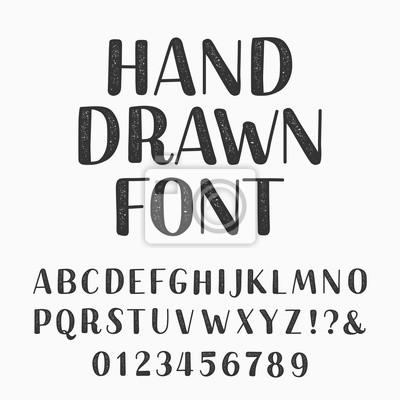 Ручной оттиск. Векторные иллюстрации. Введите буквы и цифры на темном фоне. Векторный шрифт для вашего дизайна.