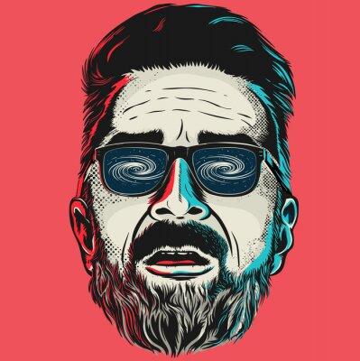 Картина Ручной обращается вектор лицо битник человек в очках.