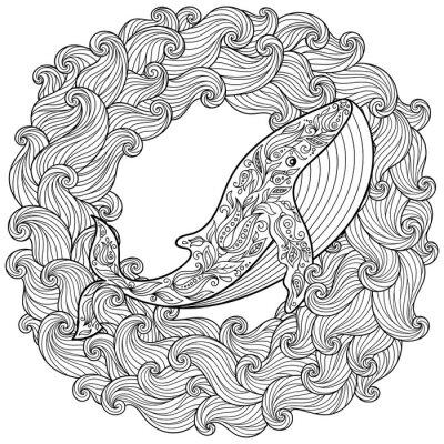 Картина Ручной обращается кит в волнах для антистрессовой раскраски страницу