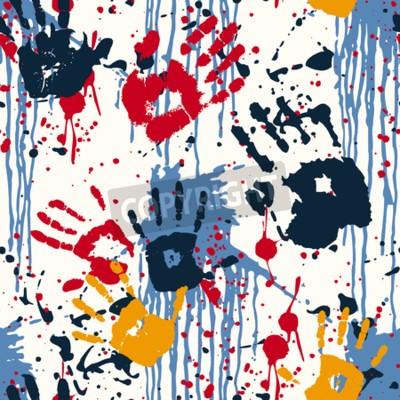 Картина Отпечатки рук и кляксы, абстрактный вектор бесшовные модели