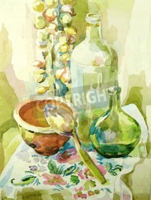 Картина ручная работа акварель кухня натюрморт с горшком, стеклянная бутылка, ложка и лук