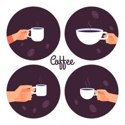 Картина Руки держат чашки кофе векторные иконки установить на белом фоне иллюстрации